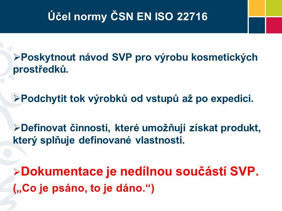 Účel normy ČSN EN ISO 22716  Poskytnout návod SVP pro výrobu kosmetických prostředků.  Podchytit tok výrobků od vstupů až po expedici.  Definovat č