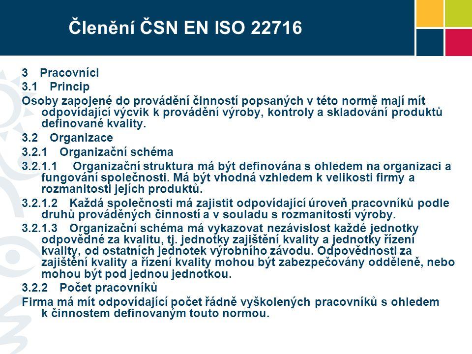 Členění ČSN EN ISO 22716 3 Pracovníci 3.1 Princip Osoby zapojené do provádění činností popsaných v této normě mají mít odpovídající výcvik k provádění