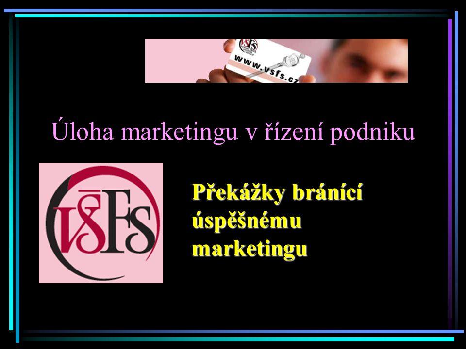 Úloha marketingu v řízení podniku Překážky bránící úspěšnému marketingu