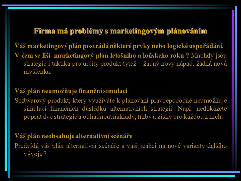 Firma má problémy s marketingovým plánováním Váš marketingový plán postrádá některé prvky nebo logické uspořádání. V čem se liší marketingový plán let