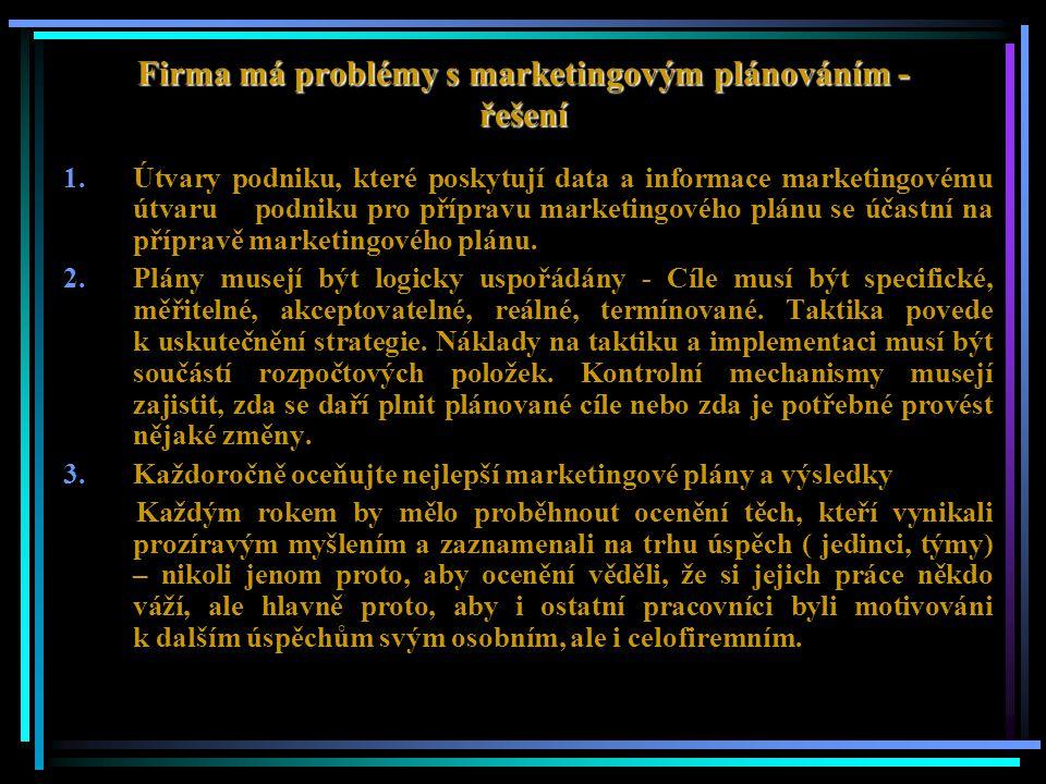 Firma má problémy s marketingovým plánováním - řešení 1.Útvary podniku, které poskytují data a informace marketingovému útvaru podniku pro přípravu ma