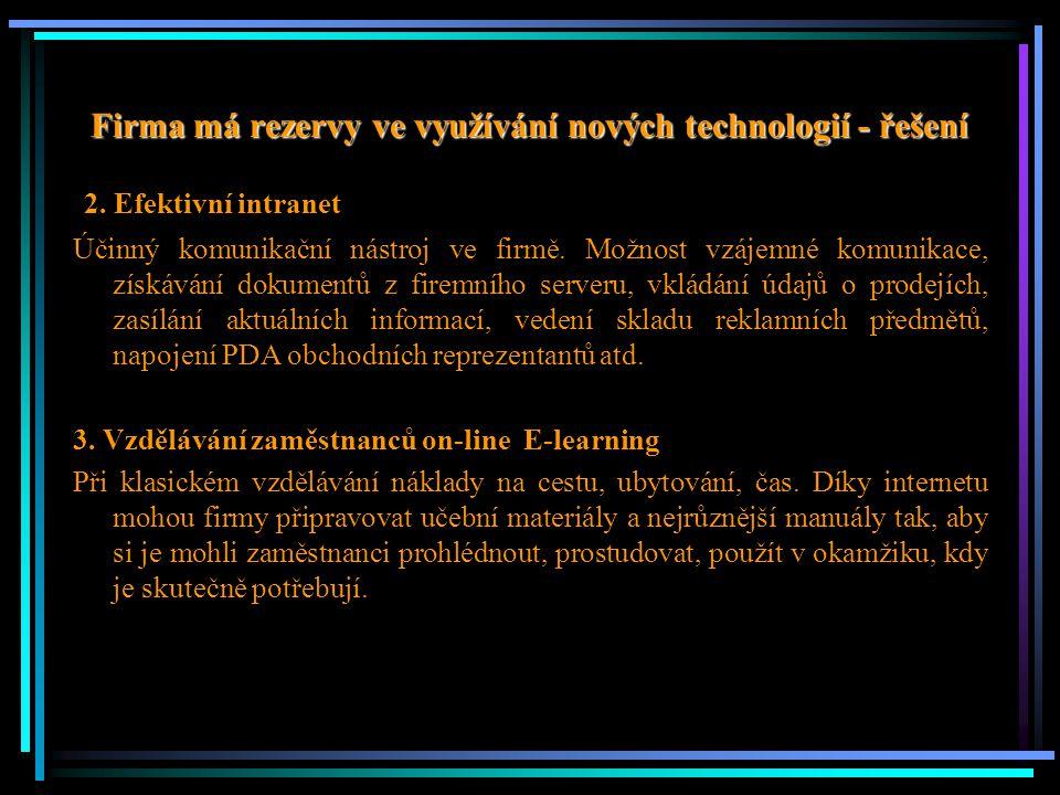 Firma má rezervy ve využívání nových technologií - řešení 2. Efektivní intranet Účinný komunikační nástroj ve firmě. Možnost vzájemné komunikace, získ