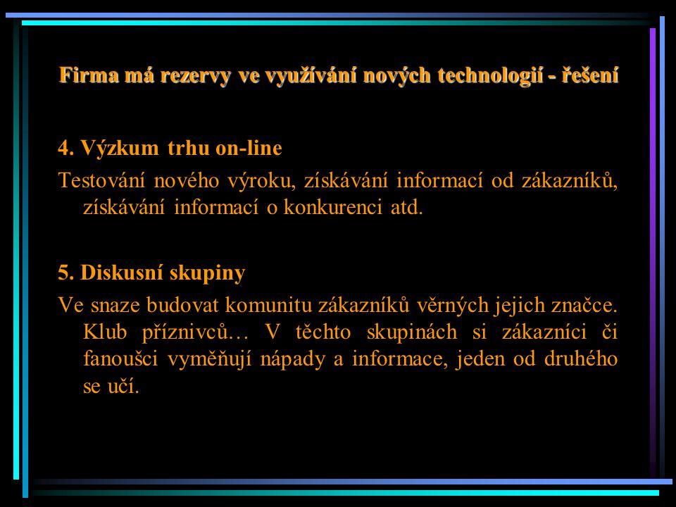 Firma má rezervy ve využívání nových technologií - řešení 4. Výzkum trhu on-line Testování nového výroku, získávání informací od zákazníků, získávání