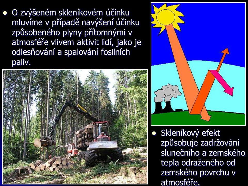  O zvýšeném skleníkovém účinku mluvíme v případě navýšení účinku způsobeného plyny přítomnými v atmosféře vlivem aktivit lidí, jako je odlesňování a