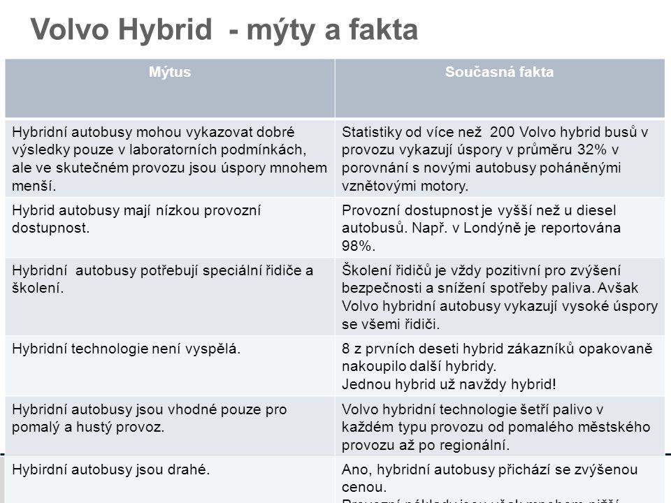 Volvo Buses Volvo Hybrid - mýty a fakta MýtusSoučasná fakta Hybridní autobusy mohou vykazovat dobré výsledky pouze v laboratorních podmínkách, ale ve skutečném provozu jsou úspory mnohem menší.