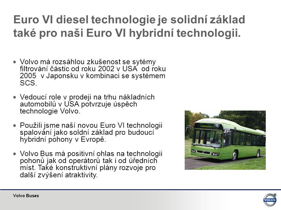 Volvo Buses Euro VI diesel technologie je solidní základ také pro naši Euro VI hybridní technologii.  Volvo má rozsáhlou zkušenost se sytémy filtrová