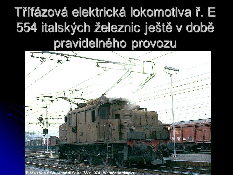 Třífázová elektrická lokomotiva ř. E 554 italských železnic ještě v době pravidelného provozu