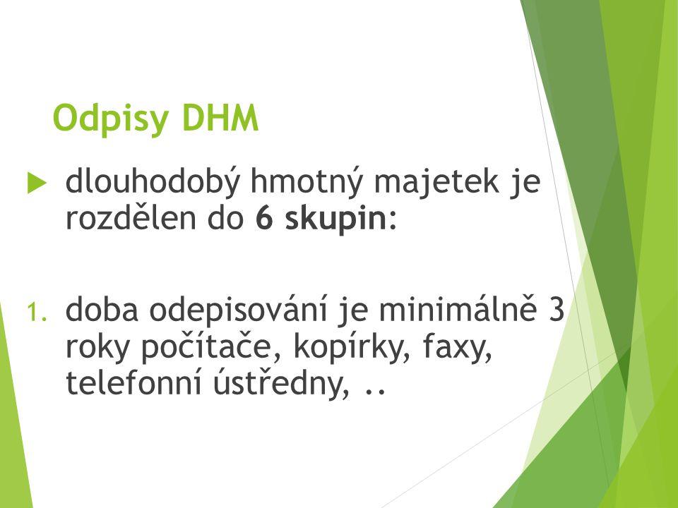 Odpisy DHM  dlouhodobý hmotný majetek je rozdělen do 6 skupin: 1. doba odepisování je minimálně 3 roky počítače, kopírky, faxy, telefonní ústředny,..