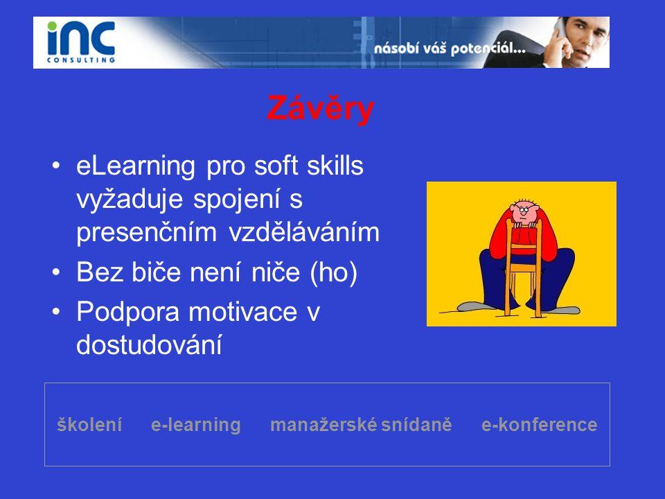 školení e-learning manažerské snídaně e-konference Závěry •eLearning pro soft skills vyžaduje spojení s presenčním vzděláváním •Bez biče není niče (ho