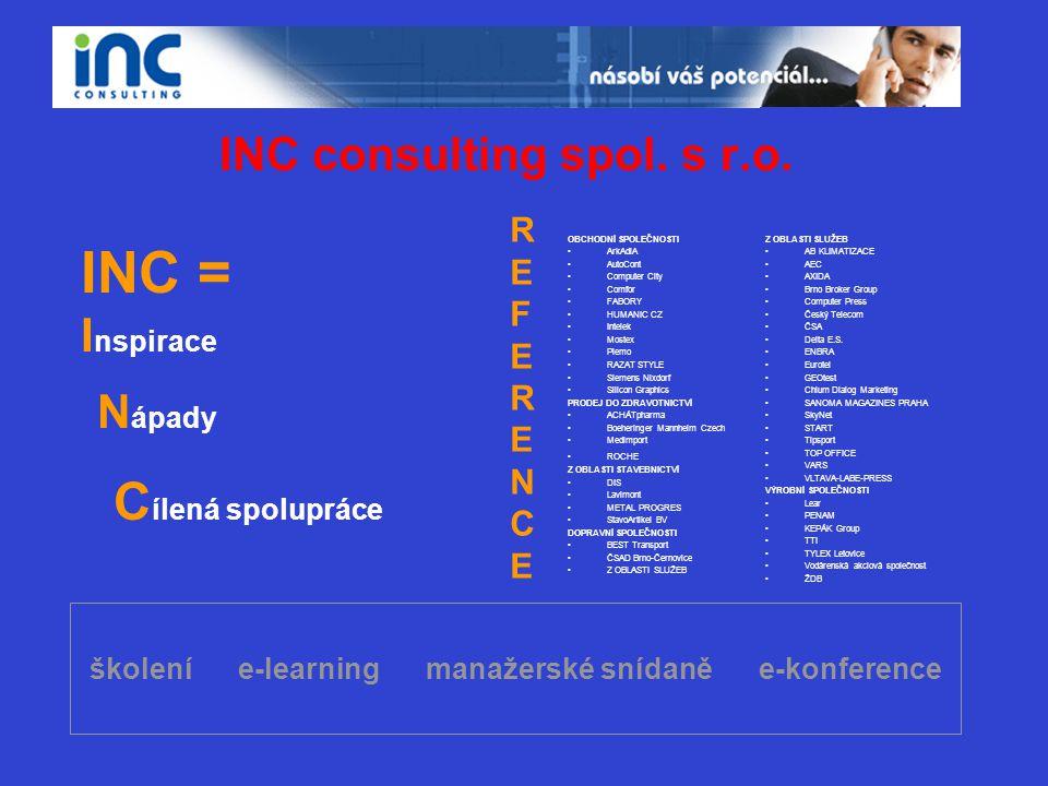 školení e-learning manažerské snídaně e-konference INC consulting spol. s r.o. INC = I nspirace N ápady C ílená spolupráce OBCHODNÍ SPOLEČNOSTI •ArkAd