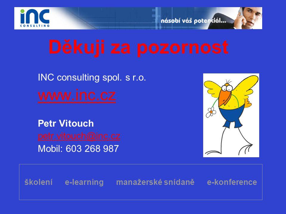 školení e-learning manažerské snídaně e-konference Děkuji za pozornost INC consulting spol. s r.o. www.inc.cz Petr Vitouch petr.vitouch@inc.cz Mobil: