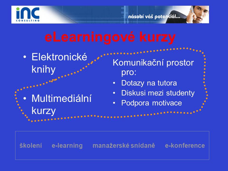 školení e-learning manažerské snídaně e-konference eLearningové kurzy •Elektronické knihy •Multimediální kurzy Komunikační prostor pro: •Dotazy na tut