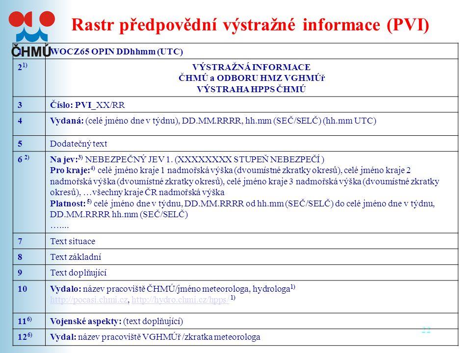22 Rastr předpovědní výstražné informace (PVI) 1WOCZ65 OPIN DDhhmm (UTC) 2 1) VÝSTRAŽNÁ INFORMACE ČHMÚ a ODBORU HMZ VGHMÚř VÝSTRAHA HPPS ČHMÚ 3Číslo: