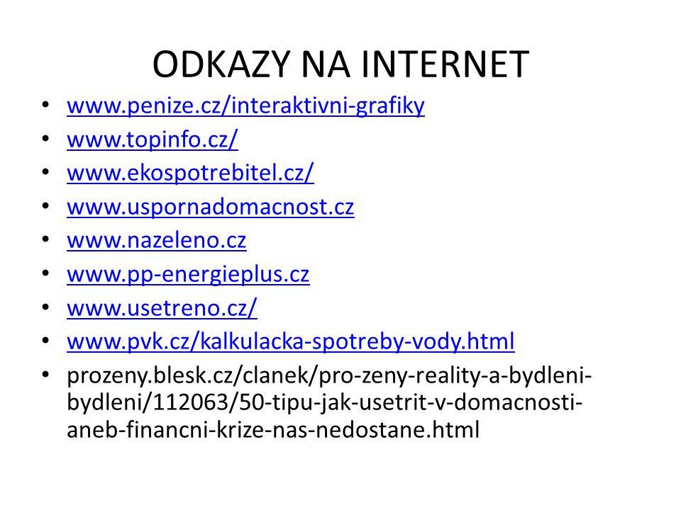 ODKAZY NA INTERNET • www.penize.cz/interaktivni-grafiky www.penize.cz/interaktivni-grafiky • www.topinfo.cz/ www.topinfo.cz/ • www.ekospotrebitel.cz/