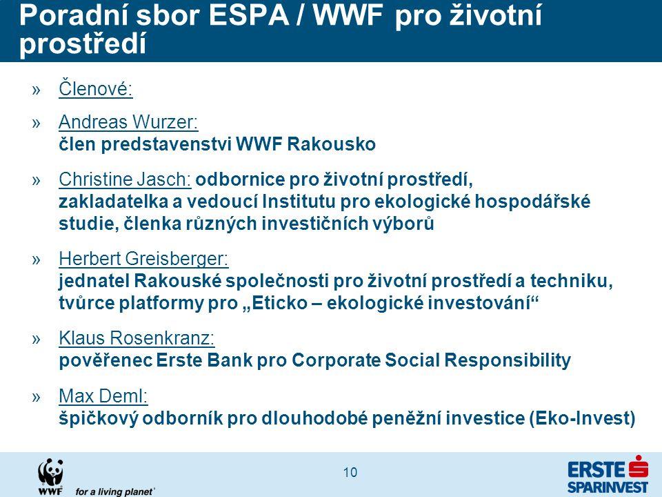 """10 Poradní sbor ESPA / WWF pro životní prostředí »Členové: »Andreas Wurzer: člen predstavenstvi WWF Rakousko »Christine Jasch: odbornice pro životní prostředí, zakladatelka a vedoucí Institutu pro ekologické hospodářské studie, členka různých investičních výborů »Herbert Greisberger: jednatel Rakouské společnosti pro životní prostředí a techniku, tvůrce platformy pro """"Eticko – ekologické investování »Klaus Rosenkranz: pověřenec Erste Bank pro Corporate Social Responsibility »Max Deml: špičkový odborník pro dlouhodobé peněžní investice (Eko-Invest)"""