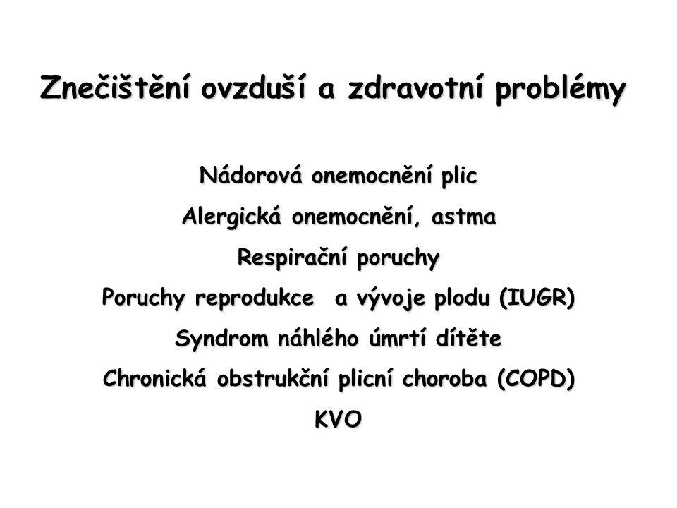 Znečištění ovzduší a zdravotní problémy Nádorová onemocnění plic Alergická onemocnění, astma Respirační poruchy Poruchy reprodukce a vývoje plodu (IUGR) Syndrom náhlého úmrtí dítěte Chronická obstrukční plicní choroba (COPD) KVO