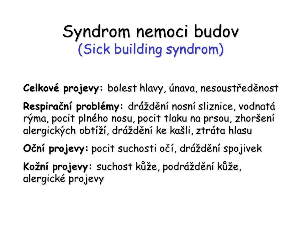 Syndrom nemoci budov (Sick building syndrom) Celkové projevy: bolest hlavy, únava, nesoustředěnost Respirační problémy: dráždění nosní sliznice, vodnatá rýma, pocit plného nosu, pocit tlaku na prsou, zhoršení alergických obtíží, dráždění ke kašli, ztráta hlasu Oční projevy: pocit suchosti očí, dráždění spojivek Kožní projevy: suchost kůže, podráždění kůže, alergické projevy