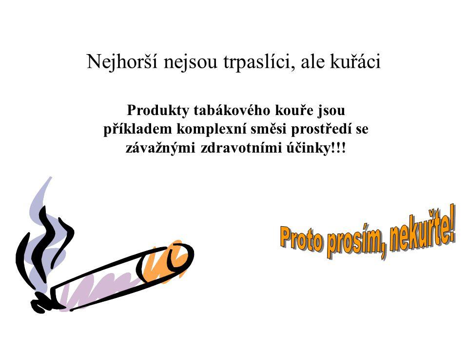 Nejhorší nejsou trpaslíci, ale kuřáci Produkty tabákového kouře jsou příkladem komplexní směsi prostředí se závažnými zdravotními účinky!!!