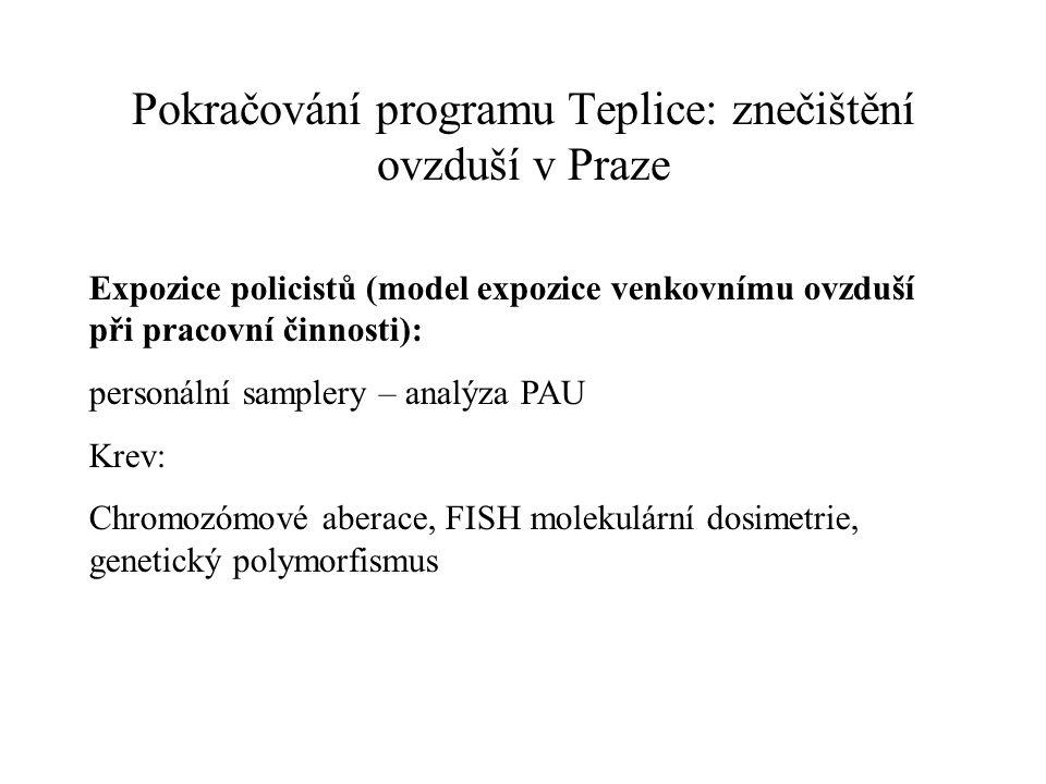 Pokračování programu Teplice: znečištění ovzduší v Praze Expozice policistů (model expozice venkovnímu ovzduší při pracovní činnosti): personální samp