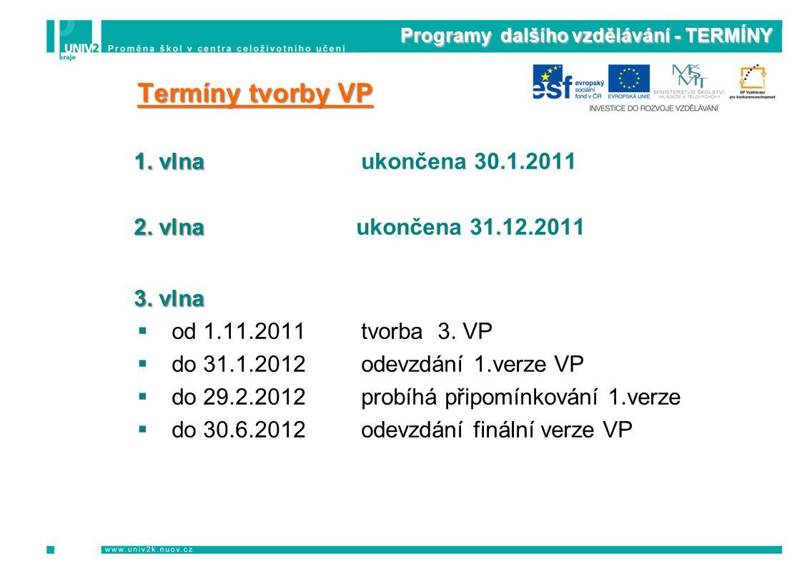 Programy dalšího vzdělávání - TERMÍNY Termíny tvorby VP 1. vlnaukončena 30.1.2011 2. vlna ukončena 31.12.2011 3. vlna ood 1.11.2011tvorba 3. VP dd