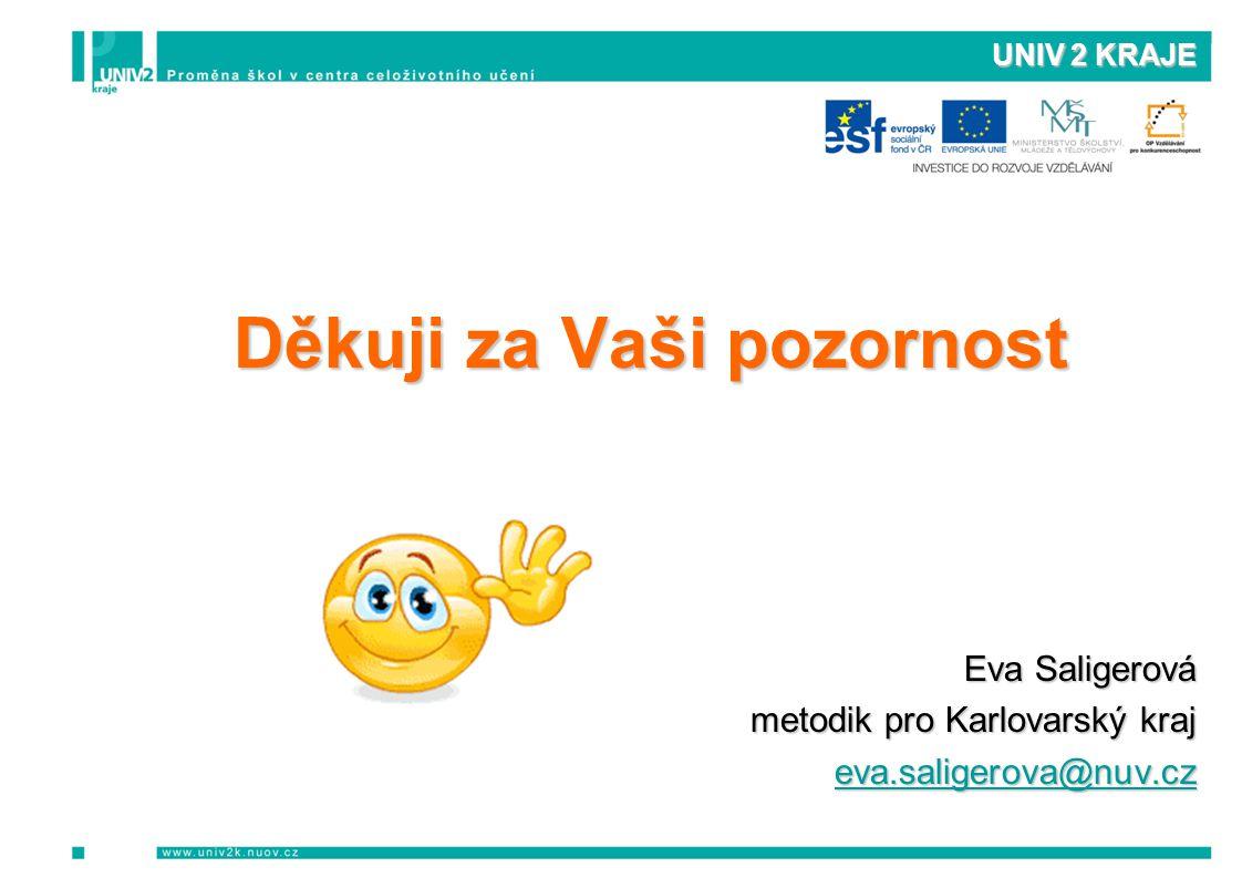 UNIV 2 KRAJE Děkuji za Vaši pozornost Eva Saligerová metodik pro Karlovarský kraj eva.saligerova@nuv.cz
