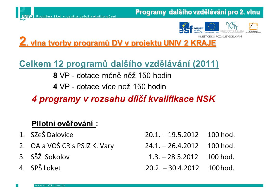Programy dalšího vzdělávání pro 2. vlnu 2. vlna tvorby programů DV v projektu UNIV 2 KRAJE Celkem 12 programů dalšího vzdělávání (2011) 8 VP - dotace