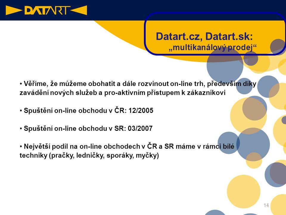 """13 Datart.cz, Datart.sk: """"multikanálový prodej"""" •Vstup na internet (12/ 2005) byl logickým vyústěním expanze Datartu • Chceme našim zákazníkům poskytn"""