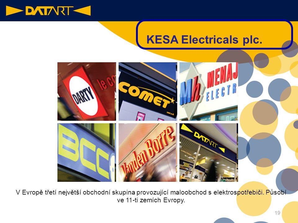 18 Datart & KESA Electricals Evropská společnost •Datart se stal součástí významné evropské obchodní společnosti Kesa Electricals. •Díky stejné obchod
