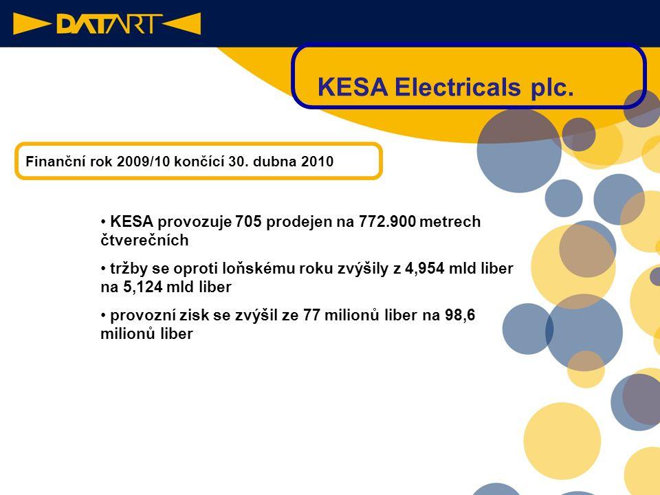 19 V Evropě třetí největší obchodní skupina provozující maloobchod s elektrospotřebiči. Působí ve 11-ti zemích Evropy. KESA Electricals plc.