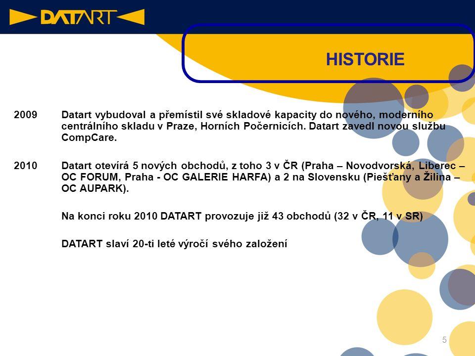 2009 Datart vybudoval a přemístil své skladové kapacity do nového, moderního centrálního skladu v Praze, Horních Počernicích.