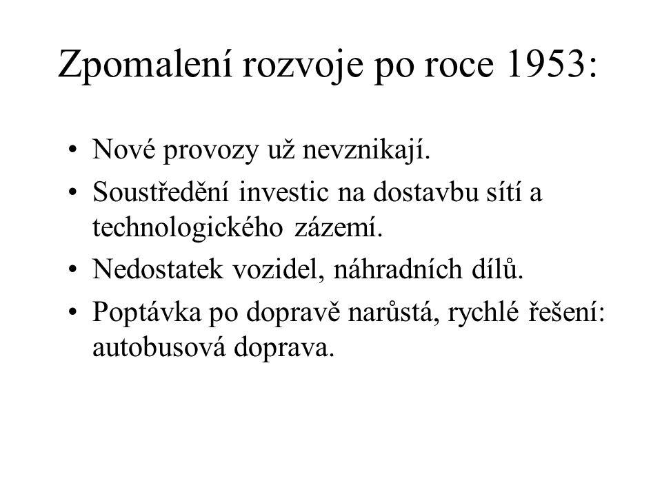 Zpomalení rozvoje po roce 1953: •Nové provozy už nevznikají.