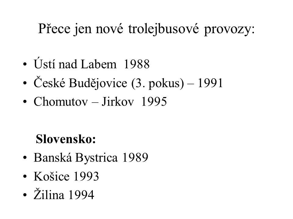 Přece jen nové trolejbusové provozy: •Ústí nad Labem 1988 •České Budějovice (3.