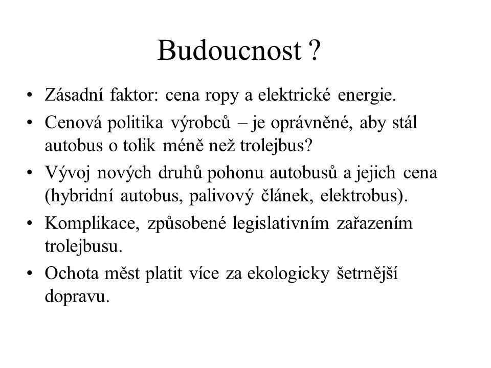 Budoucnost .•Zásadní faktor: cena ropy a elektrické energie.
