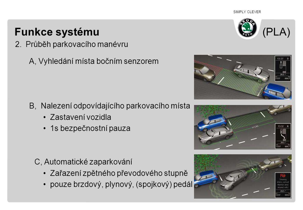 SIMPLY CLEVER Funkce systému (PLA) 2.Průběh parkovacího manévru A, Vyhledání místa bočním senzorem B, Nalezení odpovídajícího parkovacího místa •Zasta