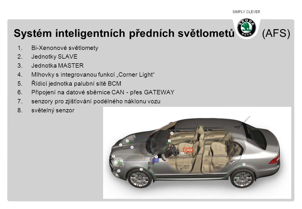 SIMPLY CLEVER Systém inteligentních předních světlometů (AFS) 1.Bi-Xenonové světlomety 2.Jednotky SLAVE 3.Jednotka MASTER 4.Mlhovky s integrovanou fun