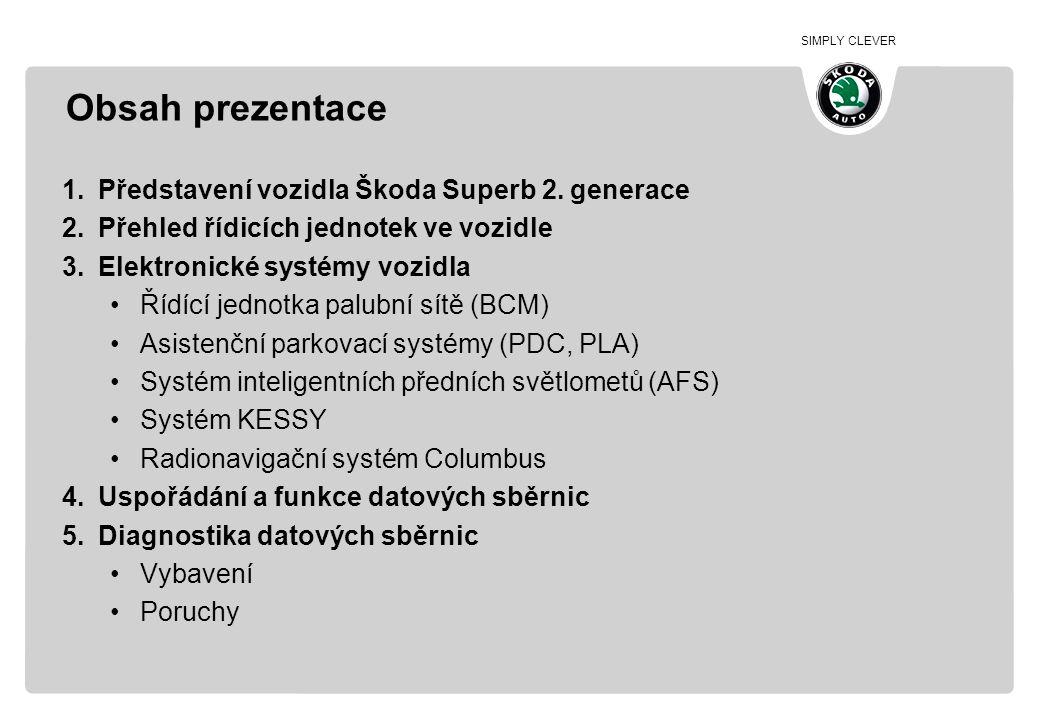 SIMPLY CLEVER Obsah prezentace 1.Představení vozidla Škoda Superb 2. generace 2.Přehled řídicích jednotek ve vozidle 3.Elektronické systémy vozidla •Ř