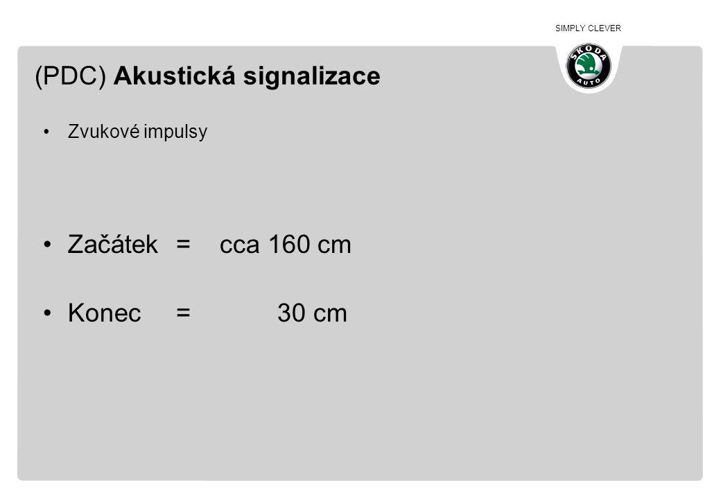 SIMPLY CLEVER (PDC) Akustická signalizace •Zvukové impulsy •Začátek= cca 160 cm •Konec= 30 cm