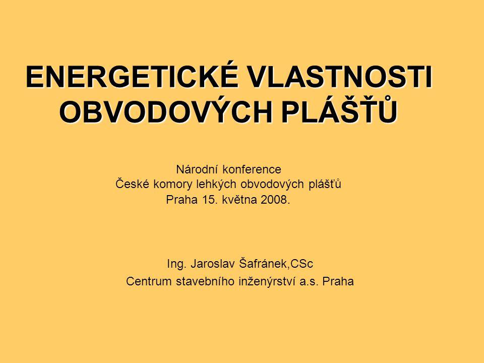ENERGETICKÉ VLASTNOSTI OBVODOVÝCH PLÁŠŤŮ ENERGETICKÉ VLASTNOSTI OBVODOVÝCH PLÁŠŤŮ Národní konference České komory lehkých obvodových plášťů Praha 15.