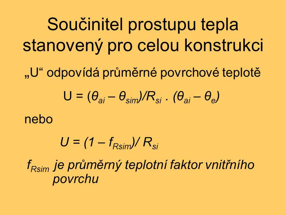 """Součinitel prostupu tepla stanovený pro celou konstrukci """" U"""" odpovídá průměrné povrchové teplotě U = (θ ai – θ sim )/R si. (θ ai – θ e ) nebo U = (1"""
