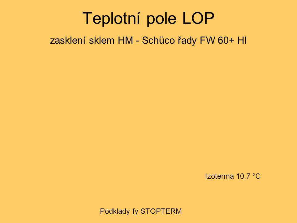 Teplotní pole LOP zasklení IZ trojsklem - Schüco řady FW 60+ HI Izoterma 10,7 °C Podklady fy STOPTERM