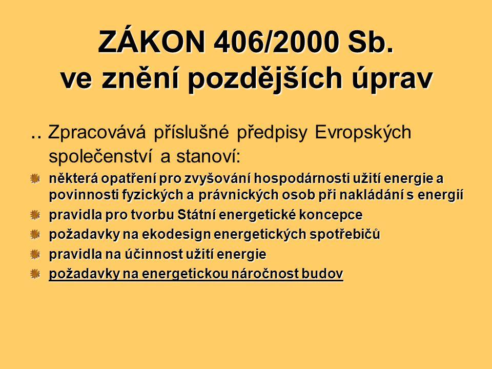 ZÁKON 406/2000 Sb. ve znění pozdějších úprav.. Zpracovává příslušné předpisy Evropských společenství a stanoví: některá opatření pro zvyšování hospodá