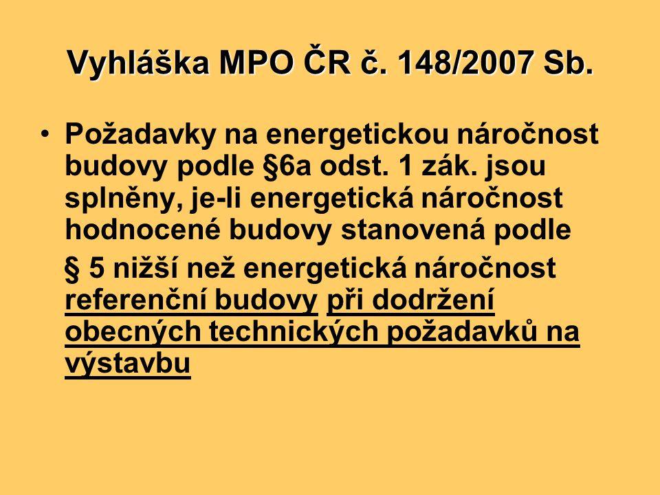 Vyhláška MPO ČR č. 148/2007 Sb. •Požadavky na energetickou náročnost budovy podle §6a odst. 1 zák. jsou splněny, je-li energetická náročnost hodnocené