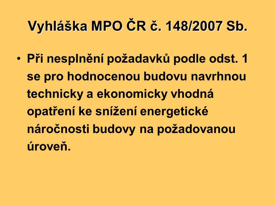 Vyhláška MPO ČR č. 148/2007 Sb. •Při nesplnění požadavků podle odst. 1 se pro hodnocenou budovu navrhnou technicky a ekonomicky vhodná opatření ke sní