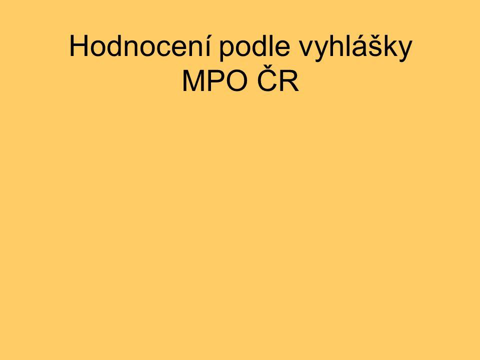 Hodnocení podle vyhlášky MPO ČR