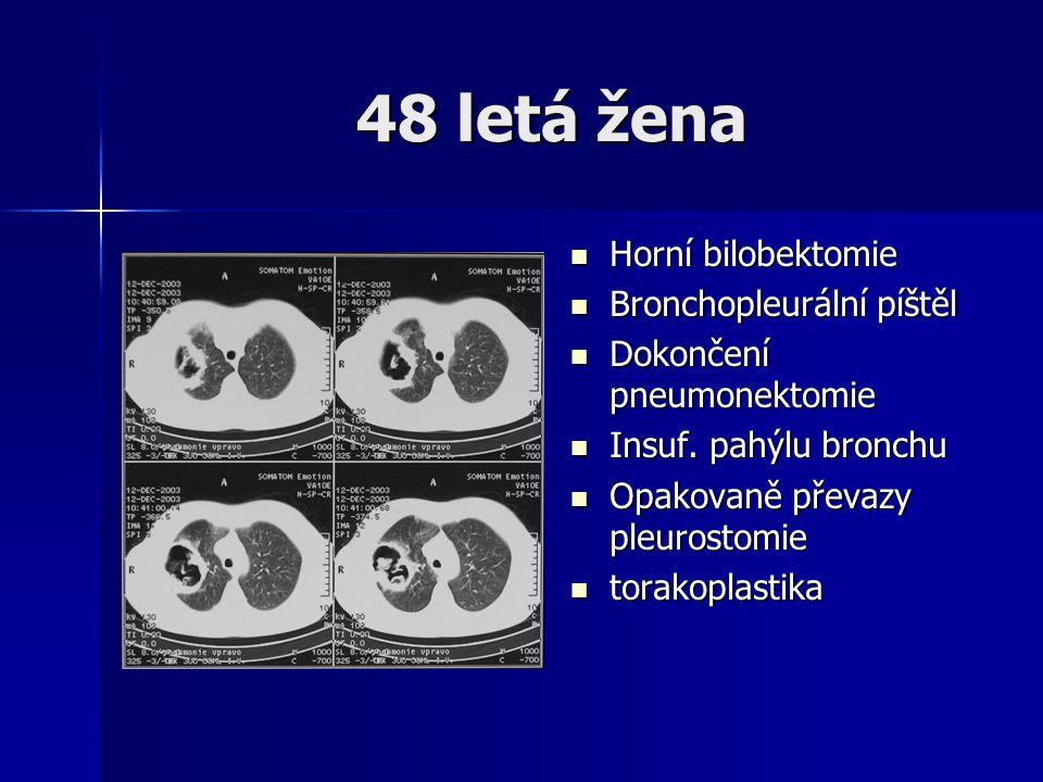 48 letá žena  Horní bilobektomie  Bronchopleurální píštěl  Dokončení pneumonektomie  Insuf. pahýlu bronchu  Opakovaně převazy pleurostomie  tora
