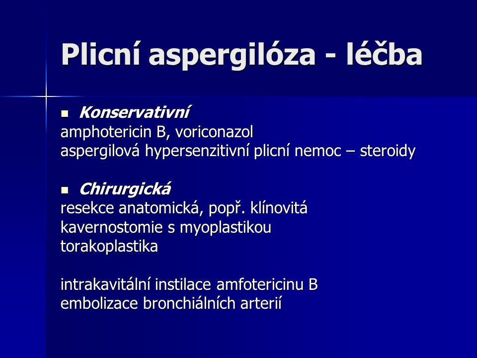 Plicní aspergilóza - léčba  Konservativní amphotericin B, voriconazol aspergilová hypersenzitivní plicní nemoc – steroidy  Chirurgická resekce anato