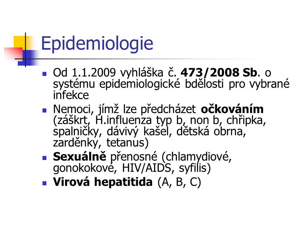 Epidemiologie  Od 1.1.2009 vyhláška č. 473/2008 Sb. o systému epidemiologické bdělosti pro vybrané infekce  Nemoci, jímž lze předcházet očkováním (z