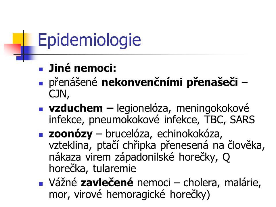 Epidemiologie  Jiné nemoci:  přenášené nekonvenčními přenašeči – CJN,  vzduchem – legionelóza, meningokokové infekce, pneumokokové infekce, TBC, SA