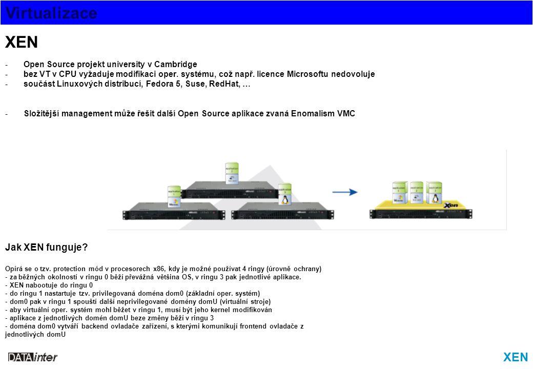 Virtualizace XEN -Open Source projekt university v Cambridge -bez VT v CPU vyžaduje modifikaci oper. systému, což např. licence Microsoftu nedovoluje