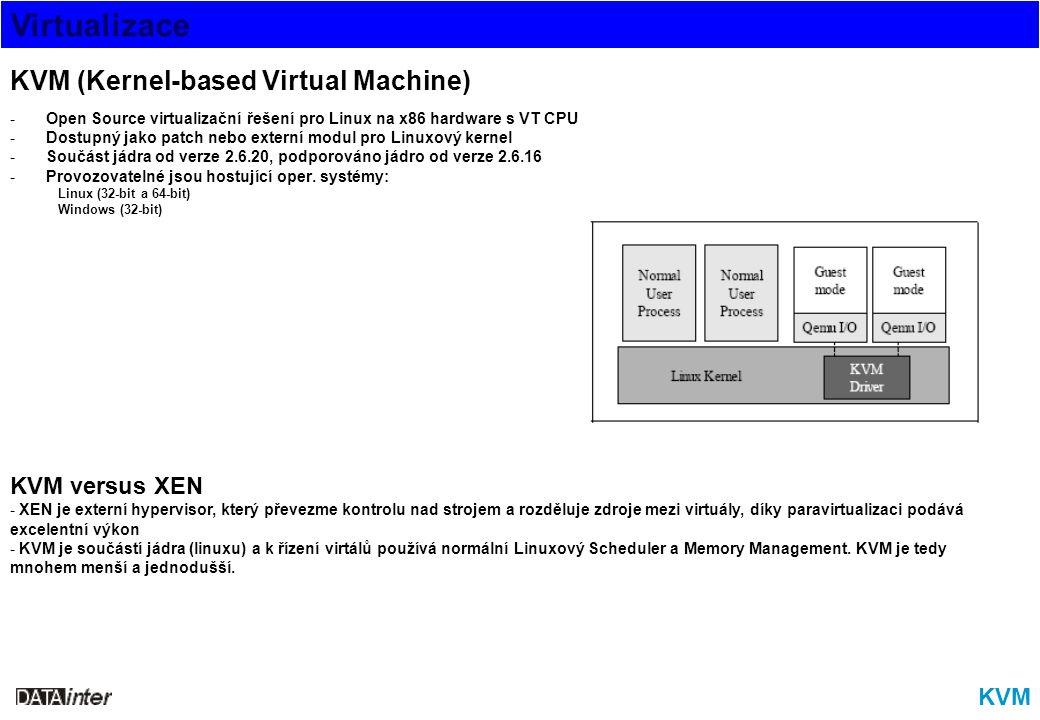 Virtualizace KVM KVM (Kernel-based Virtual Machine) -Open Source virtualizační řešení pro Linux na x86 hardware s VT CPU -Dostupný jako patch nebo ext